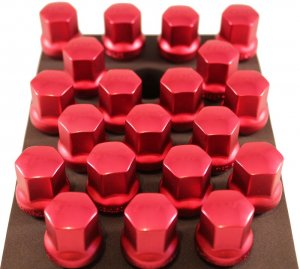 TPI 20pc RED Duralumin Head 28mm Maca BMW 12x1.5 Wheel Bolts