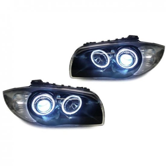 DEPO BMW E82 E88 PROJECTOR XENON HEADLIGHTS WITH V2 ANGEL EYES FOR NON OEM HID VEHICLES - Click Image to Close