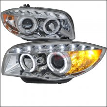 Spec-D CHROME DUAL HALO PROJECTOR HEADLIGHTS WITH LEDS 2007 - 2013 E82 E88