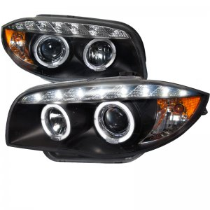 Spec-D BLACK DUAL HALO PROJECTOR HEADLIGHTS WITH LEDS 2007 - 2013 E82 E88