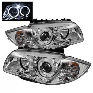 Spyder Auto Chrome Projector LED Halo Headlights BMW 1 Series